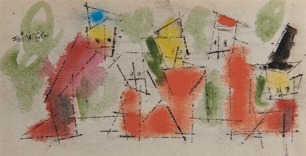 LYONEL FEININGER, (American/German, 1871-1956), Untitled (Five Ghosties), ink and watercolor, 3 1/8 x 6 1/8 in.