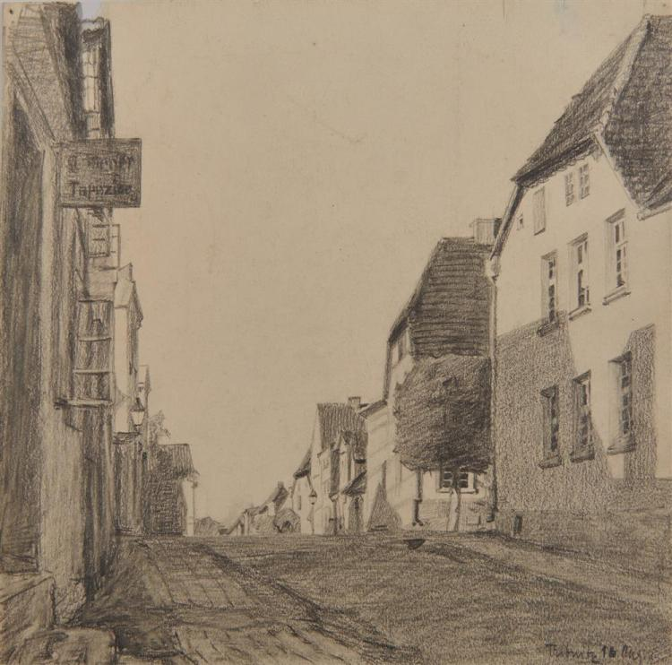 LYONEL FEININGER, (American/German, 1871-1956), Untitled (Ribnitz Street Scene), pencil, 9 5/8 x 9 7/8 in.