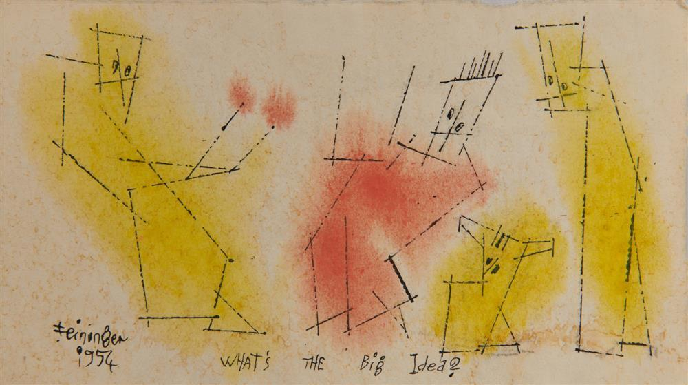 LYONEL FEININGER, (American/German, 1871-1956), What's The Big Idea? (Four Ghosties), 1954, ink and watercolor, 3 5/8 x 6 3/8 in.