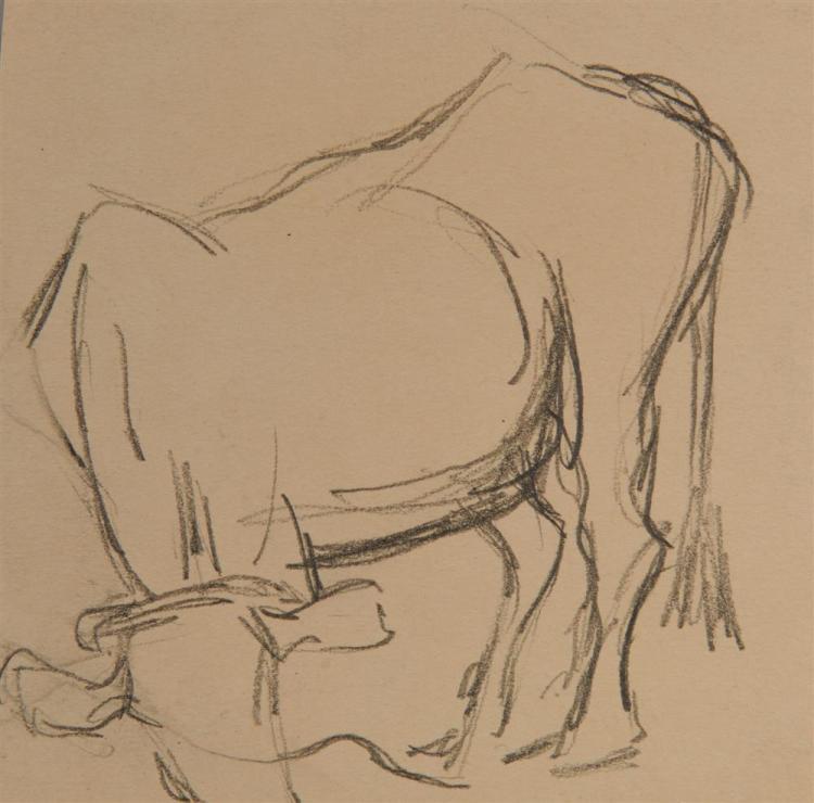 LYONEL FEININGER, (American/German, 1871-1956), Untitled (Four Studies of Cows), 1906, pencil, 5 1/4 x 7 in.; 5 5/8 x 6 1/4 in.; 4 5/8 x 4 5/8 in.; 4 1/4 x 6 1/8 in.