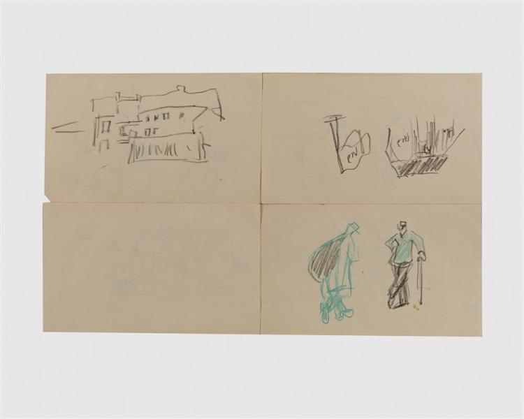 LYONEL FEININGER, (American/German, 1871-1956), Auf der Eisenbahn, Reise eindfincke während der Fahrt, envelope containing seventeen sketches, most 4 5/8 x 8 3/4 in.