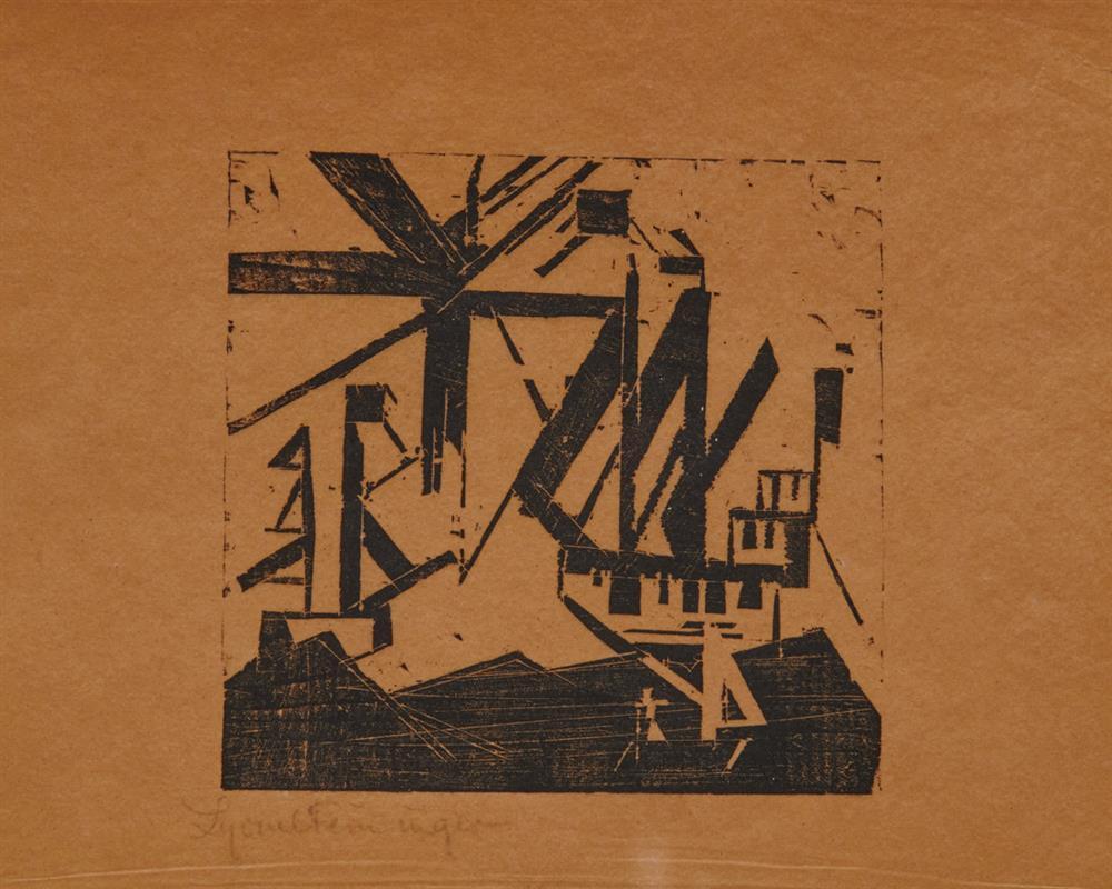 LYONEL FEININGER, (American/German, 1871-1956), Schiffe und Sonne 3 / Kleine Marine (Ships and Sun 3) [Prasse W69], woodcut, 4 3/4 x 5 in.