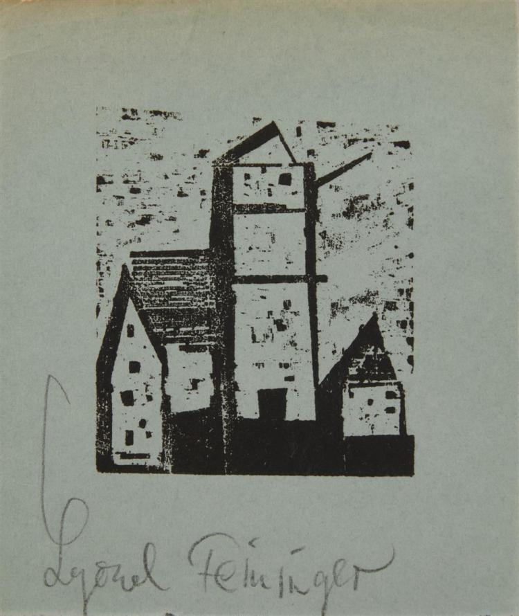 LYONEL FEININGER, (American/German, 1871-1956), Dorfkirche (Village Church) [Prasse W309], woodcut, 2 1/2 x 2 3/4 in.