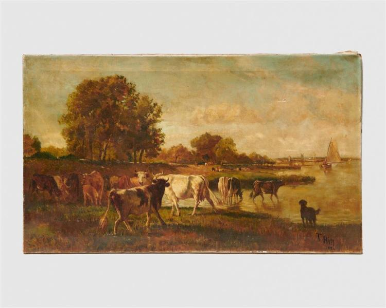 THOMAS HILL, (American, 1829-1908), Landscape with Cows, 1886, oil on canvas, 21 x 36 in.