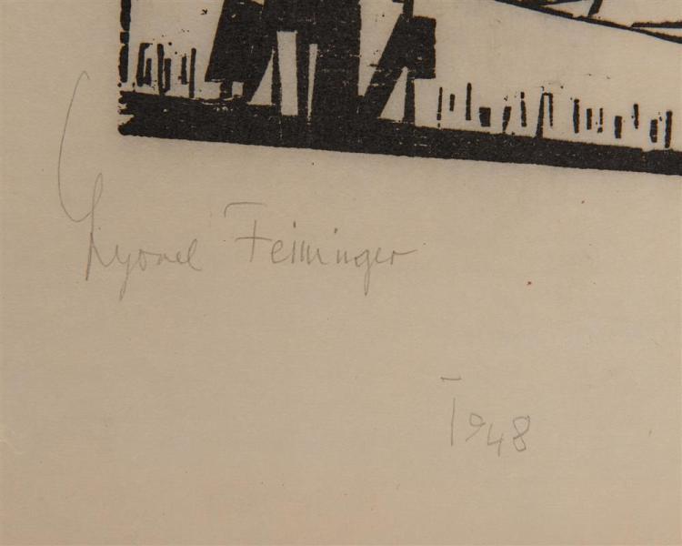 LYONEL FEININGER, (American/German, 1871-1956), Kriegsschiff (Battleship) [Prasse W169], wodcut, 5 1/4 x 5 1/2 in.