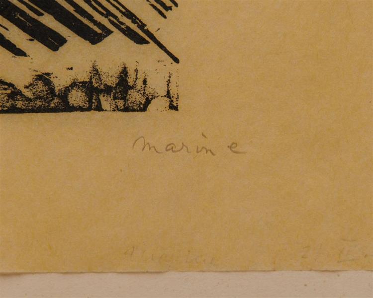 LYONEL FEININGER, (American/German, 1871-1956), Marine - mit drei Segelbooten (Marine - with three sailboats) [Prasse W164], woodcut, 4 5/8 x 5 1/8 in.