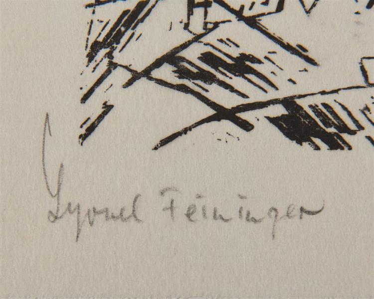 LYONEL FEININGER, (American/German 1871-1956), Schiffe in Schwerer See (Ships in Heavy Sea) [Prasse W137], woodcut, 3 1/8 x 4 1/2 in.