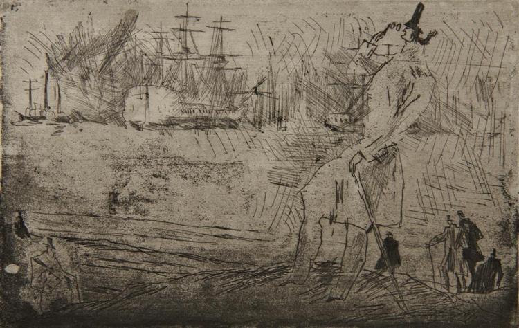 LYONEL FEININGER, (American/German 1871-1956), Der Reeder (The Privateer) [Prasse E41], drypoint etching, plate: 5 1/4 x 8 1/2 in.