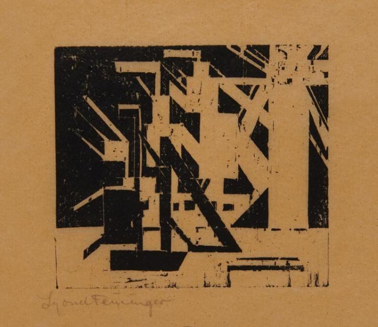 LYONEL FEININGER, (American/German, 1871-1956), Schiffe und Sonne 5 (Ships and Sun 5) [Prasse W71], woodcut, 4 x 4 3/8 in.