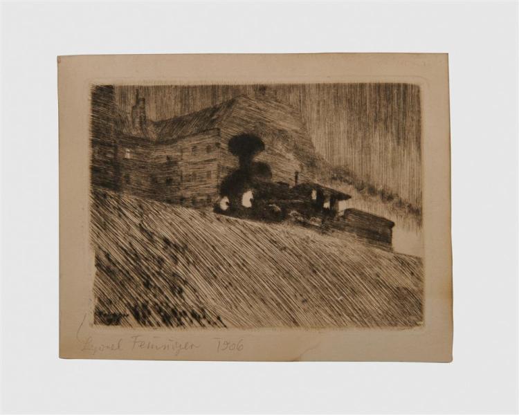 LYONEL FEININGER, (American/German, 1871-1956), Die Maschine (The Locomotive) [Prasse E3], 1906, drypoint etching, plate: 4 3/8 x 6 in.