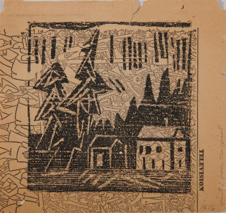 LYONEL FEININGER, (American/German, 1871-1956), Three Woodcuts on Newspaper