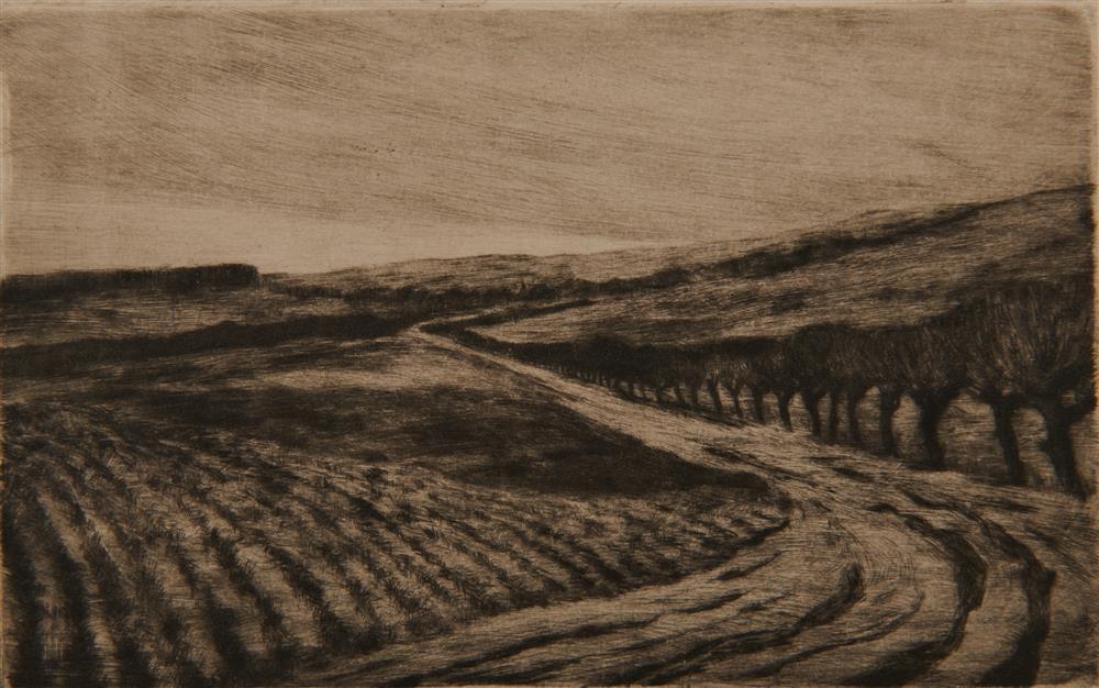 LYONEL FEININGER, (American/German, 1871-1956), Untitled (Tree-Lined Field), etching, plate: 3 1/2 x 5 1/2 in.