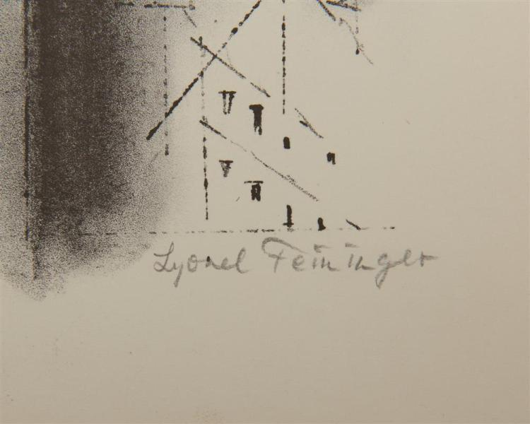 LYONEL FEININGER, (American/German, 1871-1956), Manhattan, Stone 1 [Prasse L15], lithograph on Rives paper, plate: 10 3/4 x 8 1/2 in.