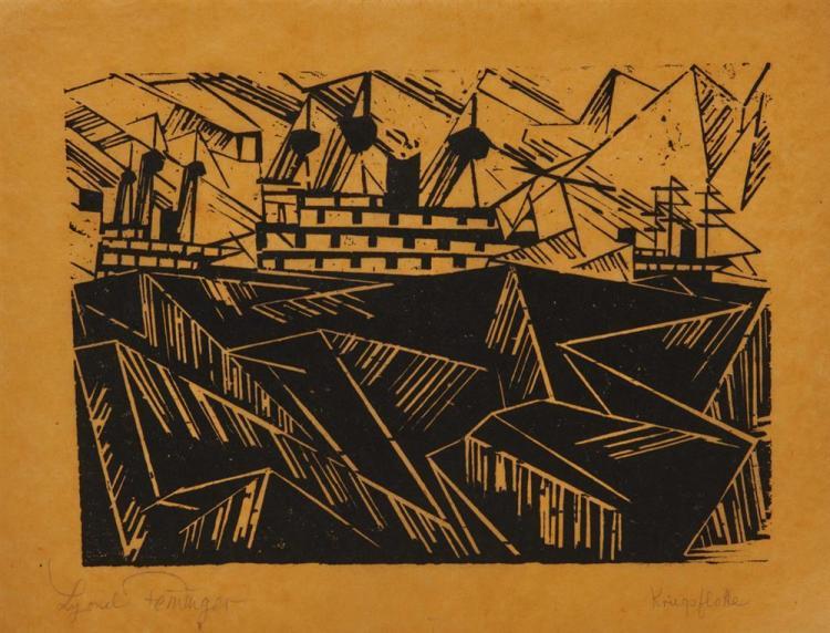 LYONEL FEININGER, (American/German, 1871-1956), Kriegsflotte 1 (Warfleet 1) [Prasse W150], woodcut, 6 1/2 x 9 in.