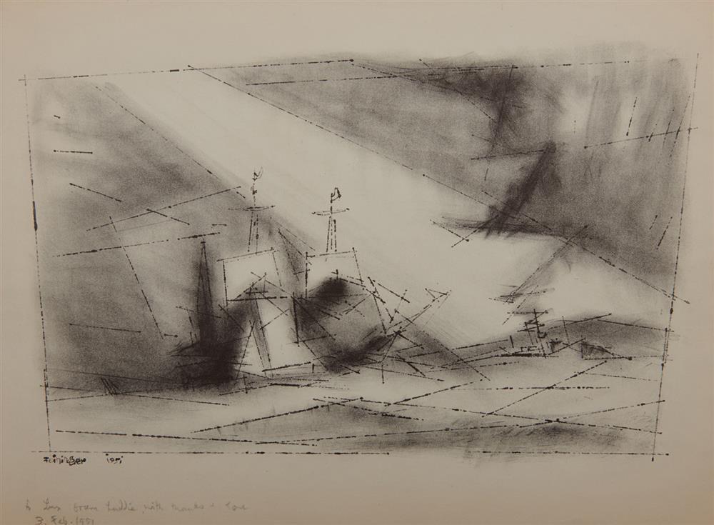 LYONEL FEININGER, (American/German, 1871-1956), Vor Der Kuste, Stein 3 (Off the Coast, Stone 3) [Prasse L14I], lithograph, plate 8 5/8 x 14 3/8 in.