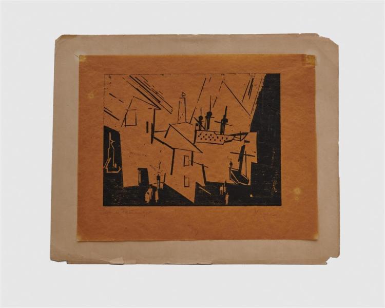 LYONEL FEININGER, (American/German, 1871-1956), Hafen - Kriegsschiff in der Hafeneinfahrt (Harbor - Warship in the Harbor Entrance) [Prasse W110], woodcut, 6 3/8 x 8 5/8 in.
