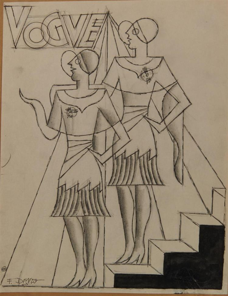 FORTUNATO DEPERO, (Italian, 1892-1960), Three Drawings, pencil and ink, largest: 10 7/8 x 8 1/4 in.