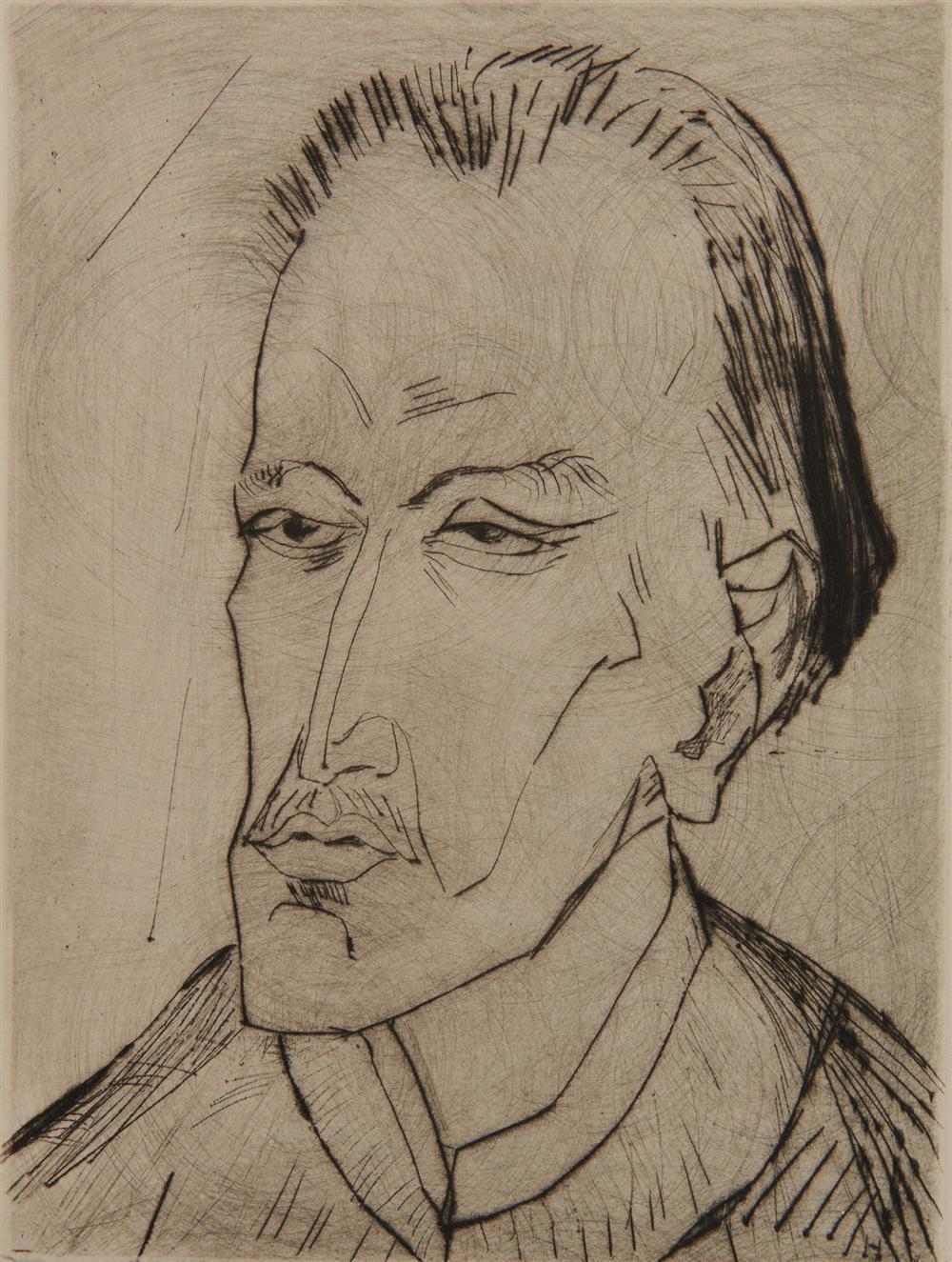 ERICH HECKEL, (German, 1883-1970), Bildnis M.H., 1914, drypoint, 9 3/8 x 7 in.