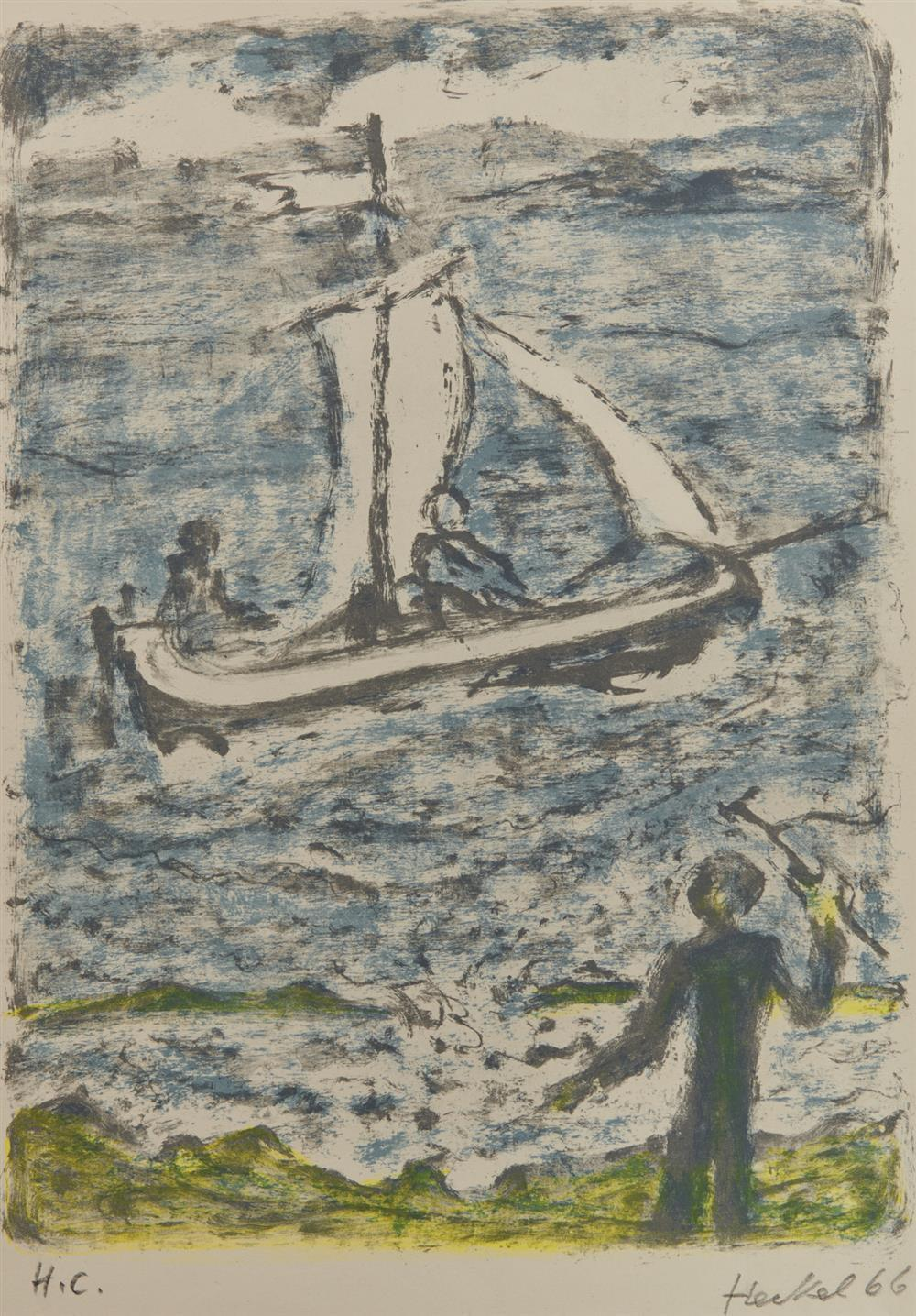 ERICH HECKEL, (German, 1883-1970), Segelschiff (Sailboat), 1966, lithograph in colors, 14 5/8 x 11 1/4 in.