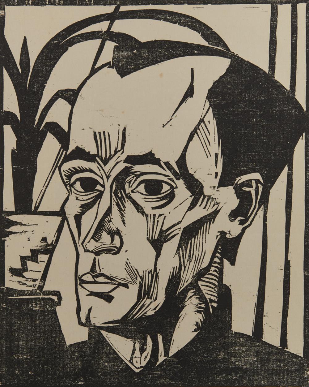 ERICH HECKEL, (German, 1883-1970), Bildnis E.H. (Self Portrait), 1917, woodcut, 9 3/8 x 7 in.