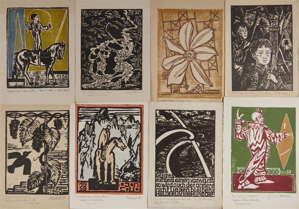 "ERICH HECKEL, (German, 1883-1970), Eight ""Jahresblatt"" Woodcuts, woodcut; each signed and inscribed"