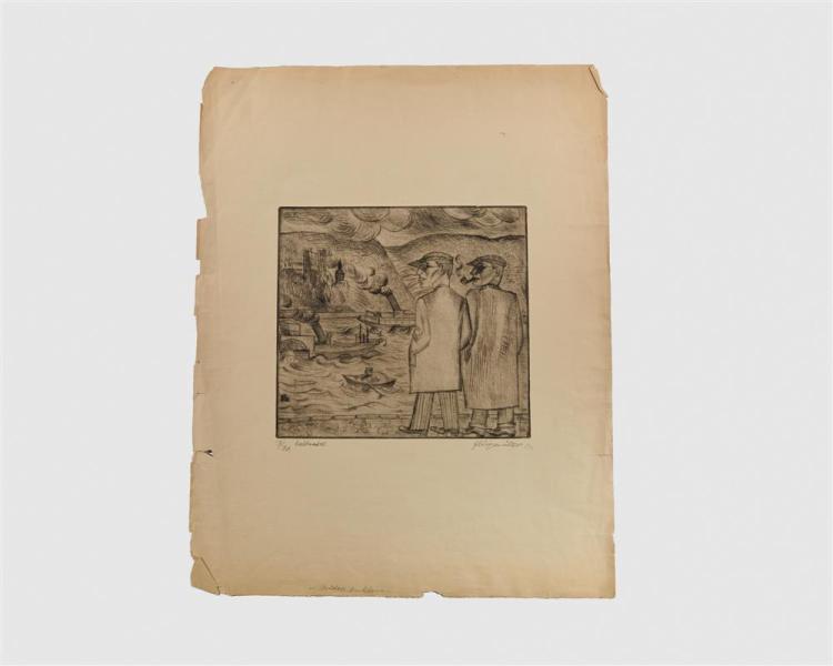 CONRAD FELIXMULLER, (German, 1897-1977), Brüder am Rhein, 1920, etching, 10 1/4 x 11 in.