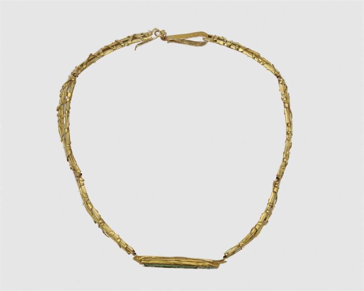 ATELIER JANIYE 18K Gold, 24K Gold, and Antique Carved Jadeite Necklace