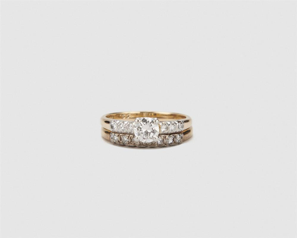 14K Gold and Diamond Ring and Band