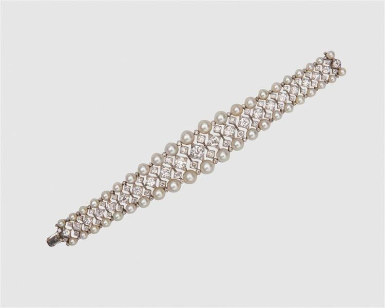 Gold, Silver, Diamond, and Natural Pearl Bracelet