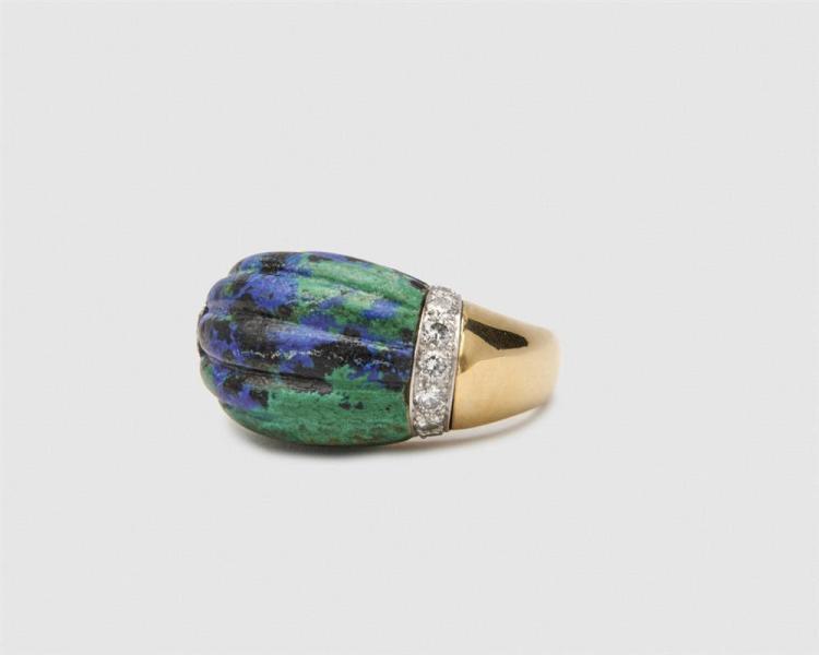 DAVID WEBB 18K Gold, Platinum, Azurmalachite, and Diamond Ring