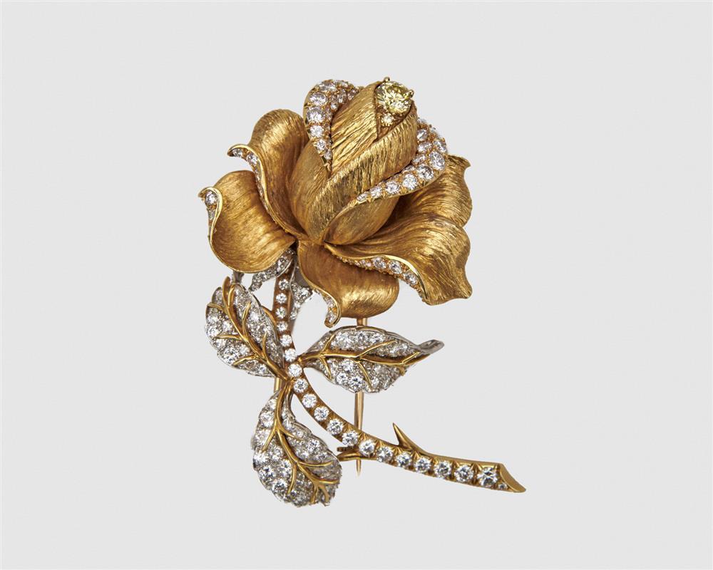 VAN CLEEF & ARPELS 18K Gold, Platinum, Diamond, and Colored Diamond Brooch