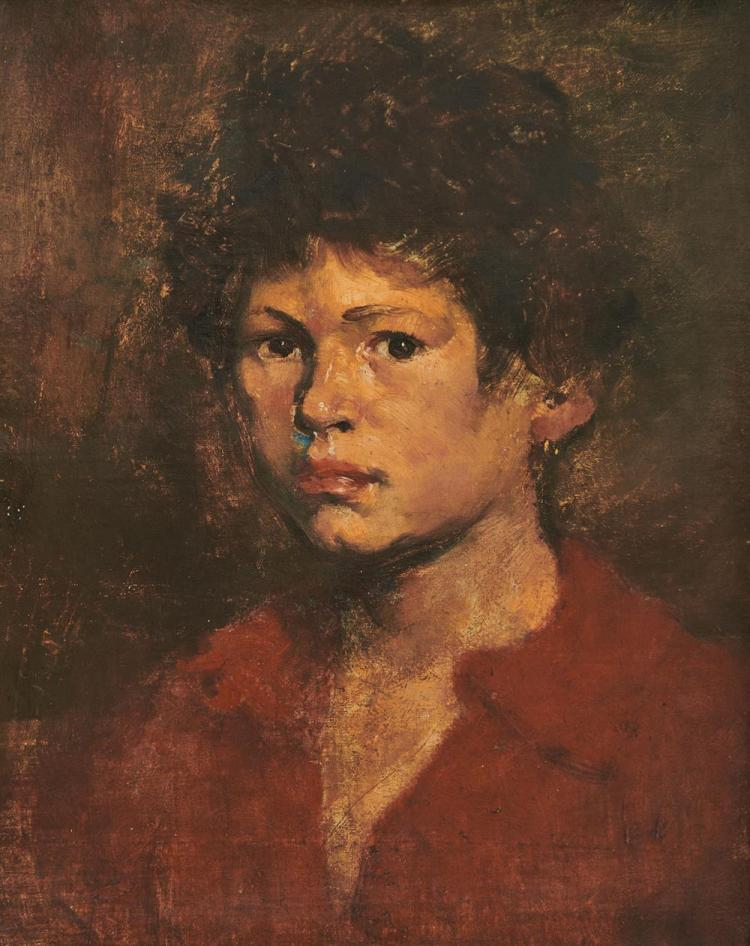 WILLIAM TURNER DANNAT, (American, 1853-1929), Boy in Red, 1874, oil on canvas, 12 x 10 in., frame: 13 3/4 x 13 1/4 in.