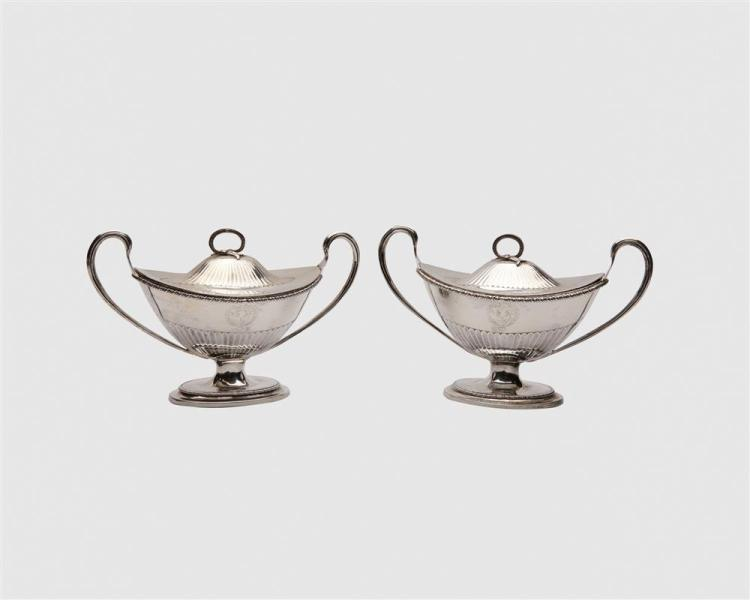 Pair of George II Silver Two Handled Small Covered Tureens, unknown maker, Dublin, 1790