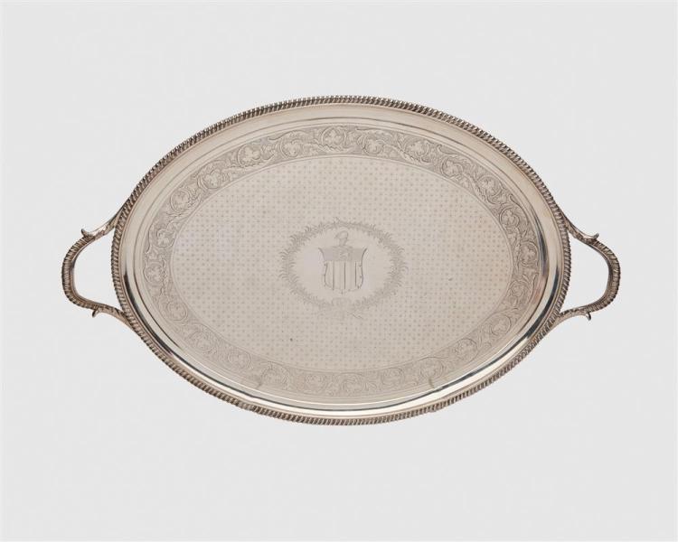 THOMAS HANNAM & JOHN CROUCH George III Silver Two Handled Tray, London, 1798