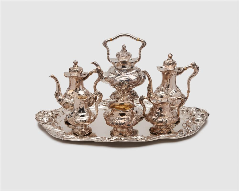REED & BARTON Art Nouveau Silver Six Piece Tea and Coffee Service, ca. 1900, together with a Complementary Tray