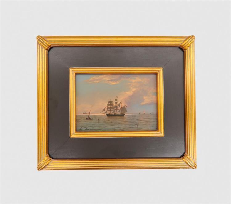 WILLIAM R. DAVIS, (American, b. 1952), Becalmed Barkentine, 2016, oil on board, 5 x 7 in., frame: 10 1/2 x 12 1/2 in.