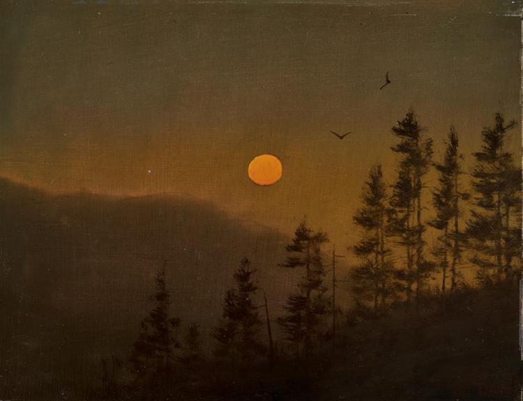 WILLIAM R. DAVIS, (American, b. 1952), Moon Rise, oil on board, 2011, 6 x 8 in.; frame: 11 1/2 x 13 1/2 in.