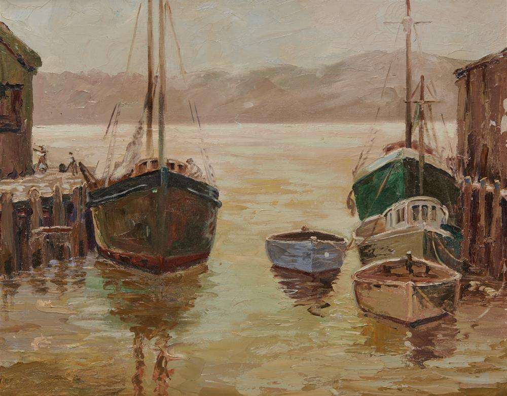 ANTHONY THIEME, (American, 1888-1954), Gloucester Harbor, oil on canvas board, 16 x 20 in.; frame: 23 x 27 in.
