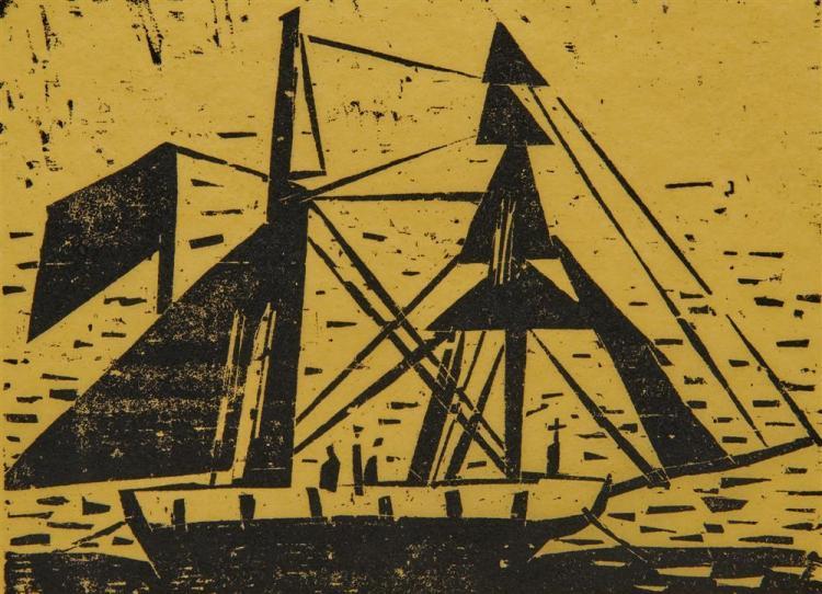 LYONEL FEININGER, (American/German, 1871-1956), Alte Brigantine (Old Brigantine) [Prasse W168], woodcut, 5 1/2 x 7 1/2 in.