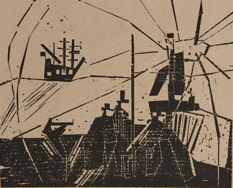 LYONEL FEININGER, (American/German, 1871-1956), Am Quai / Marine (On the Quay / Marine) [Prasse W93], woodcut, 6 5/8 x 8 1/8 in.