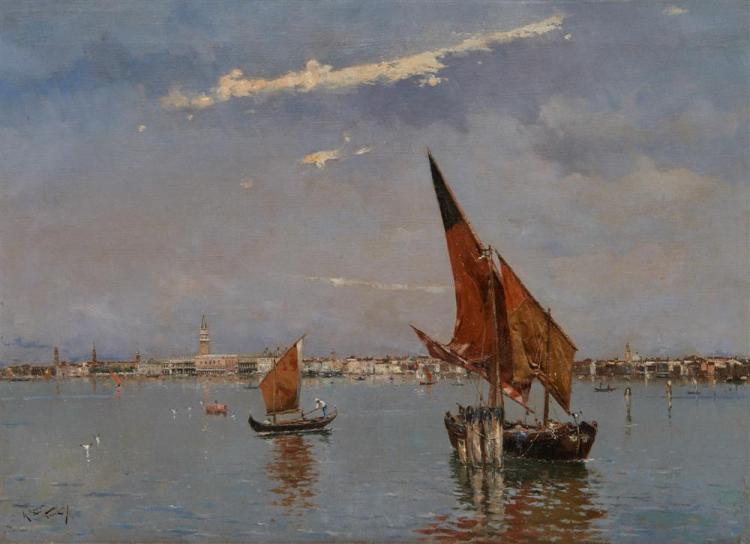 ANTONIO MARIA de REYNA MANESCAU, (Spanish, 1859-1937), Venetian Lagoon, oil on canvas, 13 x 18 in., frame: 17 x 22 in.