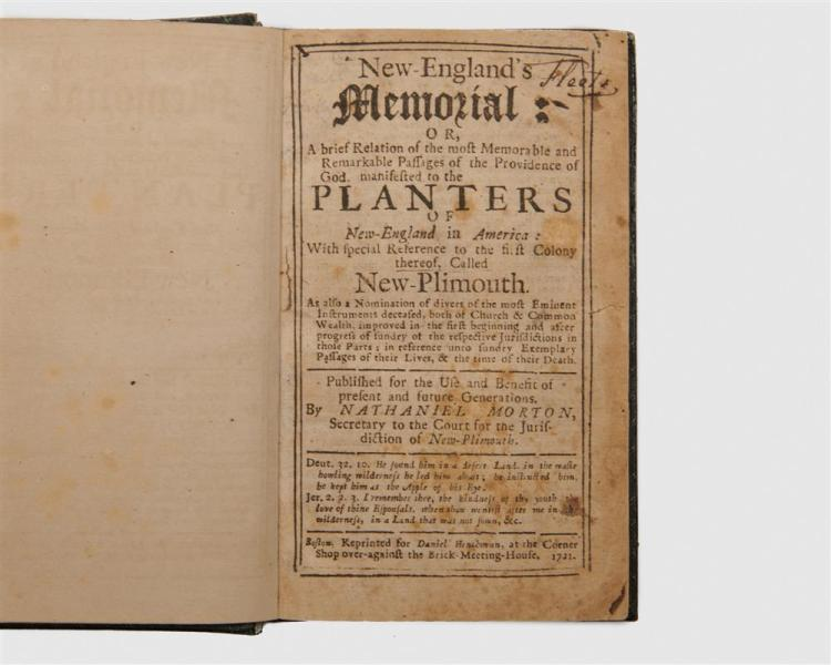 MORTON, NATHANIEL. New England's Memorial: or, a brief relation of the most memorable and remarkable passages of the providence, of God, manifested to the planters of New England in America...