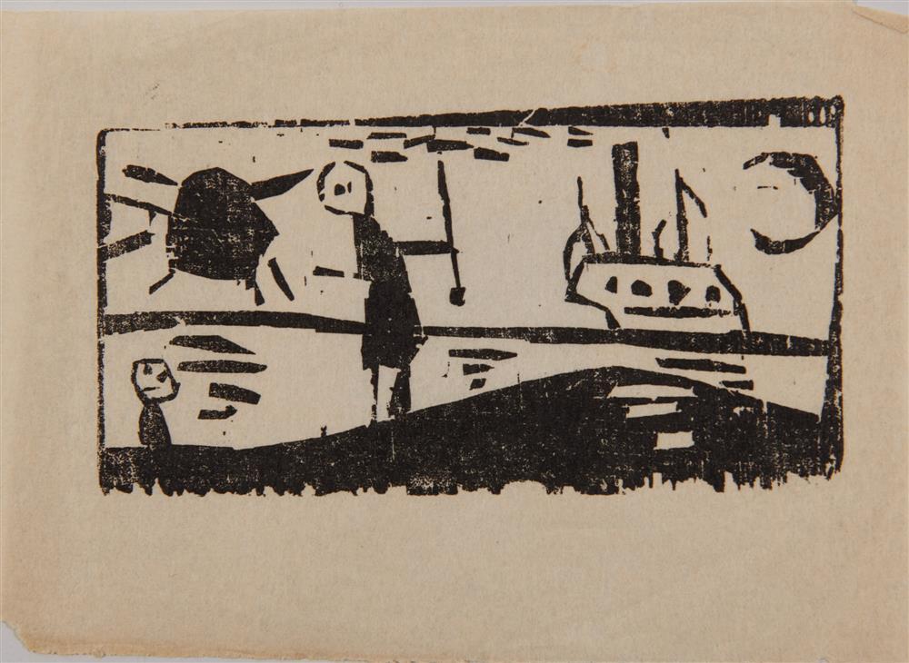 LYONEL FEININGER, (American/German, 1871-1956), Schiff mit Sonne und Mond (Ship with Sun and Moon) [Prasse W239], woodcut, 2 1/4 x 4 1/4 in.