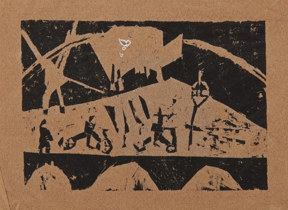 LYONEL FEININGER, (American/German, 1871-1956), Untitled (Street Scene), woodcut, 3 1/2 x 4 5/8 in.
