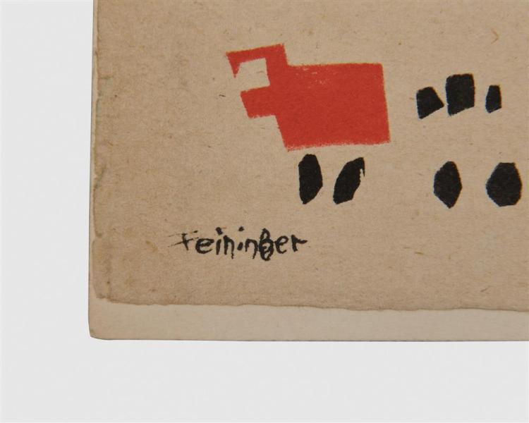 LYONEL FEININGER, (American/German, 1871-1956), Ein Lesezeichen für Julia, von Pleo, pochoir and ink, 2 1/5 x 7 in.