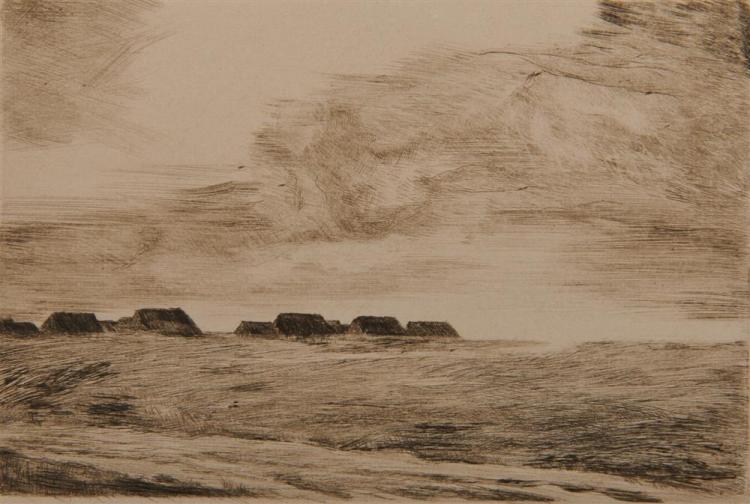 LYONEL FEININGER, (American/German, 1871-1956), Küstenlandschaft (Coastal Landscape) [Prasse E44], drypoint etching, plate: 3 1/2 x 5 1/4 in.