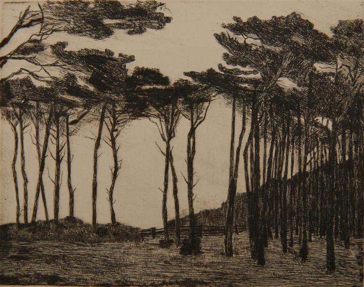 LYONEL FEININGER, (American/German, 1871-1956), Untitled (Trees), five etchings, plate: 4 1/8 x 5 1/4 in.