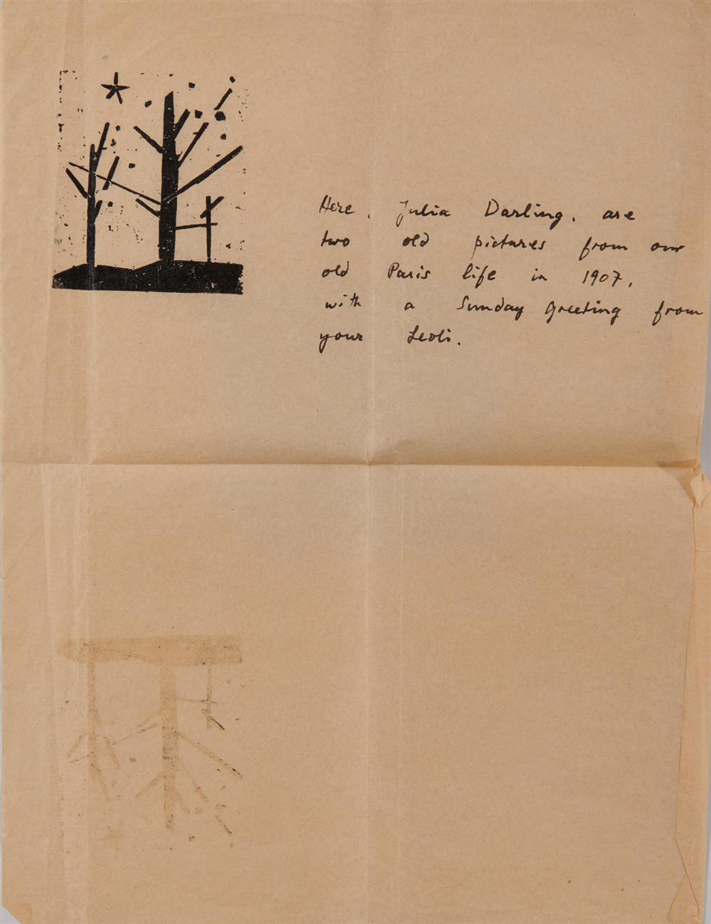 LYONEL FEINNGER, (American/German, 1871-1956), Baume und Stern (Trees and Star) [Prasse W260(64II)], woodcut, 2 1/2 x 2 1/4 in.