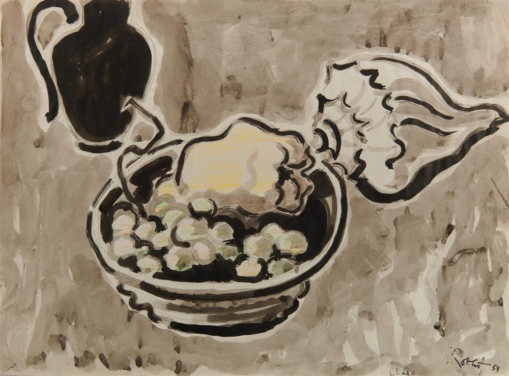 KARL SCHMIDT-ROTTLUFF, (German, 1884-1976), Stilleben (Still Life), watercolor and colored pencil, 1954, 15 3/4 x 21 in.