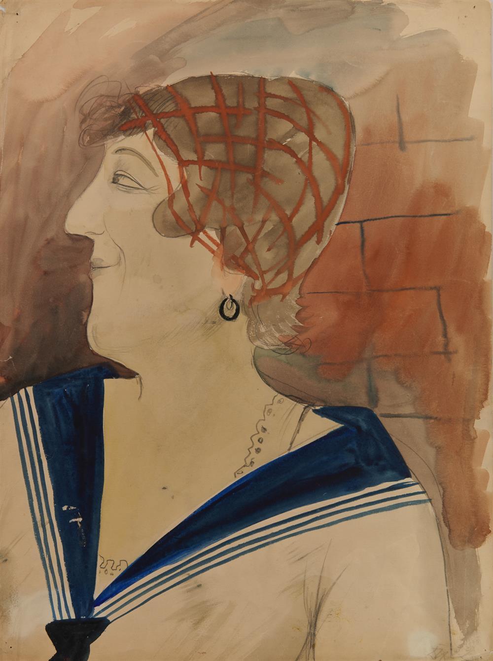 OTTO DIX, (German, 1891-1969), Portrait of Julia Feininger, watercolor and pencil, 1922, 19 1/2 x 14 1/4 in.